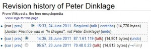 Peter Dinklage: Not in In Bruges